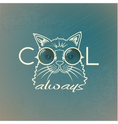 Funny muzzle cat in sunglasses closeup vector