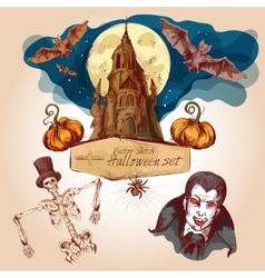Halloween colored sketch set vector image