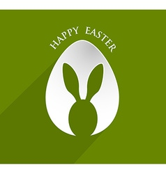 Happy easter bunny ear egg shape with lonh shadow vector