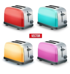 Set of bright toasters isolated on white vector