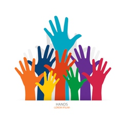 Photo of raised hands vector