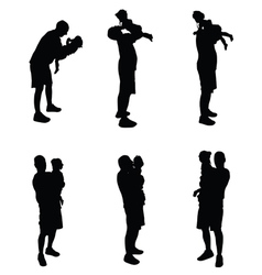 Father with baby black vector