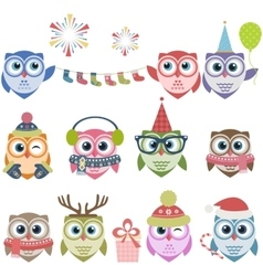 Set of cute Christmas owls vector image