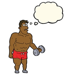 Cartoon man lifting weights with thought bubble vector