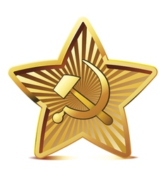 Golden soviet star with hammer and sickle vector