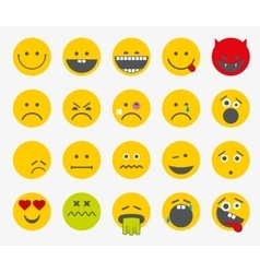 Emoticons emoji smiley flat set vector
