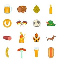 Germany icons set cartoon style vector