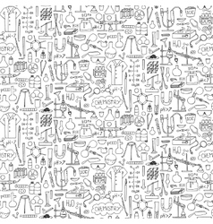 Chemistry doodle seamless pattern vector