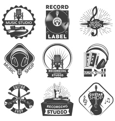 Music shop label set vector