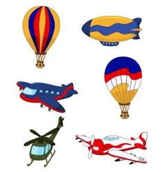 air transportation set cartoon vector image