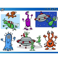 Aliens or Martians Cartoon Characters Set vector image