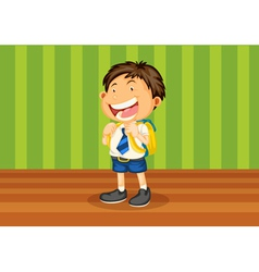 Boy with school bag vector image vector image