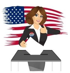 businesswoman putting ballot in vote box vector image