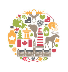 canada attributes colorful set in round shape on vector image vector image