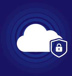 Cloud security concept icon with padlock vector