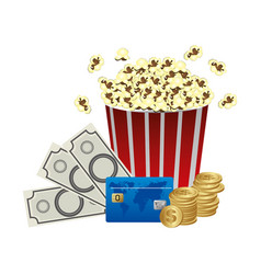 Color pop corn clipart movie and money icon vector