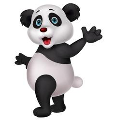 Cute panda cartoon waving hand vector image