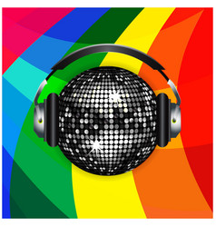 Disco ball and headphones over rainbow background vector image vector image