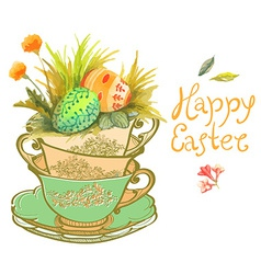Easter card with watercolor flowers and eggs vector image