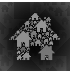 Grey home symbol on dark grey background vector