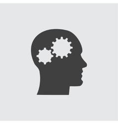 Head and gear icon vector image vector image