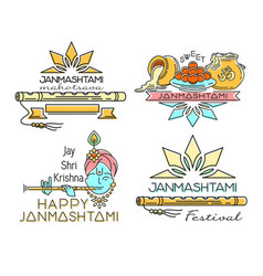 Line logo icons set for krishna janmashtami vector