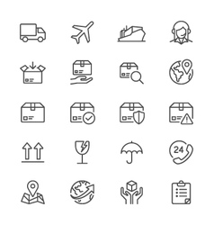 Logistics and shipping thin icons vector