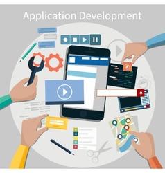 Mobile application development concept vector image vector image