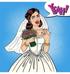 Pop art happy bride with flowers bouquet vector