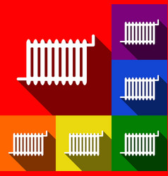 radiator sign set of icons with flat vector image vector image