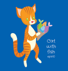 Red cat carry fish in the package vector