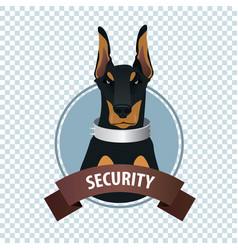 round icon with doberman pinscher vector image