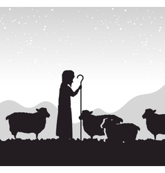silhouette shepherd sheep manger isolated design vector image