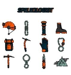 Speleologist flat icon set vector