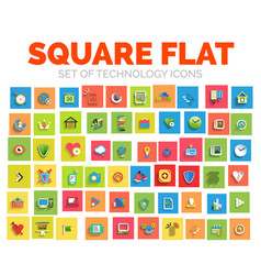 Square flat technology web icon set vector