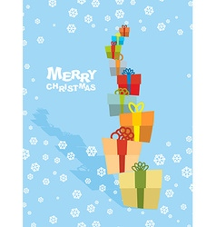 Tower gifts and snowfall Happy Christmas Many vector image