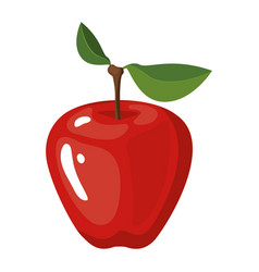 white background with realistic apple fruit vector image