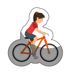 woman athlete in bicycle avatar character vector image
