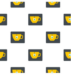 Yellow tea cup with teabag pattern flat vector