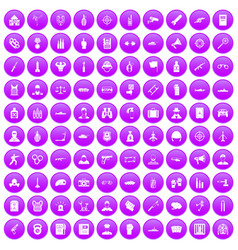 100 officer icons set purple vector