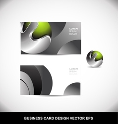Green metal sphere business card design template vector