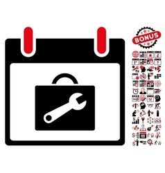 Toolbox calendar day flat icon with bonus vector