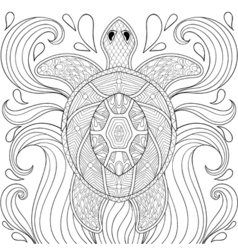 Zentangle turtle in waves freehand sketch for vector