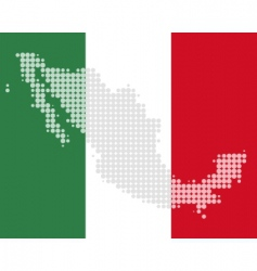 Map and flag of mexico vector