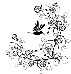Humming bird with flowers vector