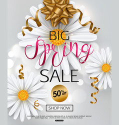 Elegant spring sale banner with chamomile flower vector