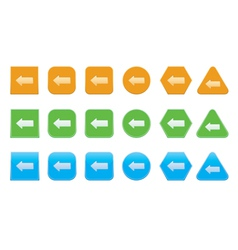 Set of left arrow icons vector