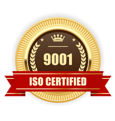 Iso 9001 certified medal - quality management vector
