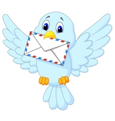 Cute bird delivering letter vector