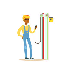 Professional electrician man character measuring vector